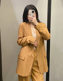 Fashion Yellow Solid Color Buttonless Blazer