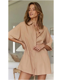 Fashion Khaki Solid Color Shirt Jumpsuit