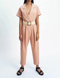 Fashion Pink Belted Jumpsuit