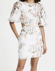 Fashion Color Printed Puff Sleeve Dress With Open Waist