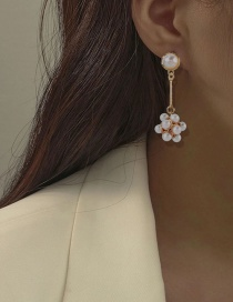 Fashion Gold Color Alloy Inlaid Pearl Earrings