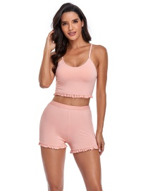 Fashion Pink Solid Color Boxer Split Swimsuit With Fungus