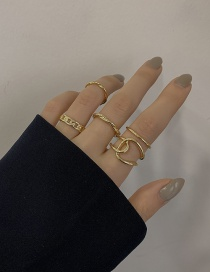 Fashion Gold Color Five-piece Geometric Ring