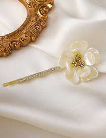 Fashion White Small Flower With Diamond Shell Flower Hairpin