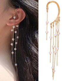 Fashion Golden No Pierced Pearl Tassel Ear Bone Clip