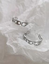 Anillos En C De Metal Con Pendientes De Micro Diamantes