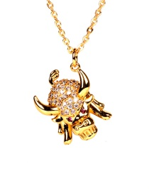 Fashion Golden Taurus And Diamond Necklace