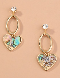 Fashion Color Stitching Abalone Shell Love Earrings