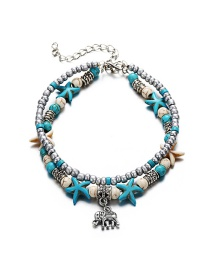 Fashion 2# Double Layer Conch Starfish Rice Beads Tortoise Anklet