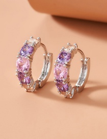 Fashion Silver Color Colored Zircon Tooth Earrings