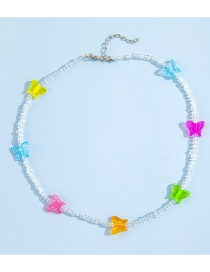 Fashion Color Crystal Colorful Butterfly Necklace