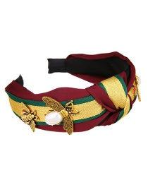 Fashion Red Wine Fabric Alloy Pearl Bee Knotted Headband