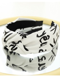 Fashion White Knotted Printed Leather Headband