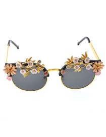 Fashion Black Embossed Flower And Diamond Butterfly Sunglasses