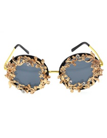 Fashion Golden Hollow Carved Fish Flower Butterfly Sunglasses