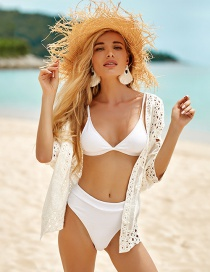 Fashion White Cotton Embroidered Short Cardigan Sun Protection