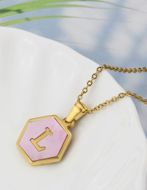 Fashion L Stainless Steel Hexagonal Pink Bottom 26 Letter Necklace
