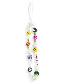 Fashion Color Soft ceramic flower letter beaded mobile phone chain