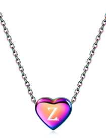 Fashion Z Stainless Steel Love Heart 26 Letter Gradient Color Necklace