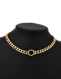 Fashion Golden Alloy Chain Ring Necklace