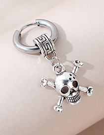 Fashion Skull Single Side Skull Cutout Mens Earrings