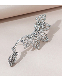 Fashion White K Leaf Unilateral Diamond-studded Alloy Hollow Earrings