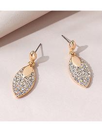 Fashion Gold Color Diamond Leaf Alloy Earrings