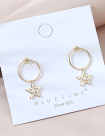 Fashion Golden Real Gold Plated Hollow Five-pointed Star Pearl Earrings