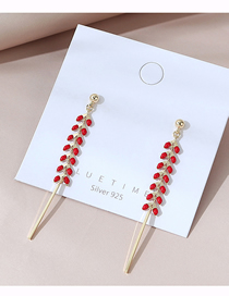 Fashion Red Real Gold Plated Oil Painting Earrings
