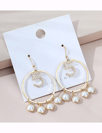 Fashion 14k Gold Real Gold Plated Hollow Large Circle Pearl Earrings