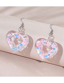 Fashion Pink Love Five-pointed Star Earrings
