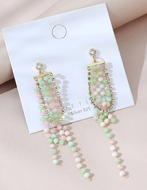 Fashion Color Real Gold Plated Tassel Round Bead Asymmetric Earrings