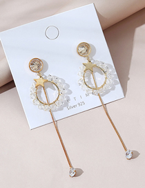 Fashion White Real Gold Plated Crystal Glass Five-pointed Star Earrings
