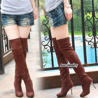 Beauteous Brown Over The Knee Thigh Velvet Boots