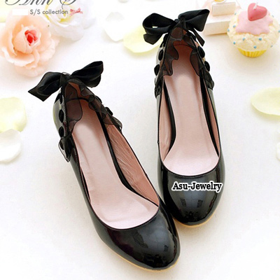 Cocktail Black Bow Tie Middle Heel PU Pumps