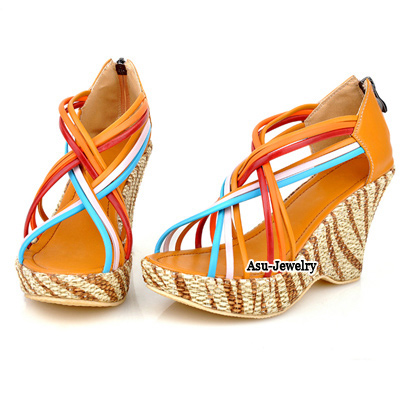 Flamenco Yellow Thin Ribbon Interlacing  Design PU Sandals