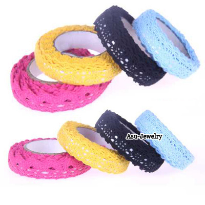 Everlas Color will be random Countryside Single Color Lace Design Cloth Stickers Tape