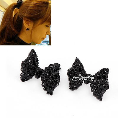 Hipster Black Bow Tie Decorated With Rhinestones Alloy Stud Earrings