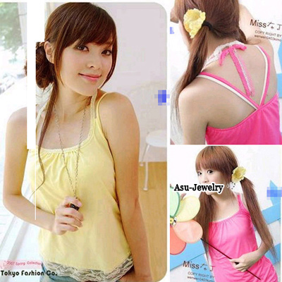 Korean woman fashion lace shoulder gallus shirt vest tank top