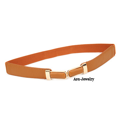 Stylish Brown Pu Leathe Double Buckle PU Wide belts