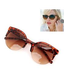 Lilac With Leopard Frame Fashion Half Frame Design Resin Sunglasses