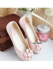 Cute Pink Cute Round Head Flower Design Rubber Flats