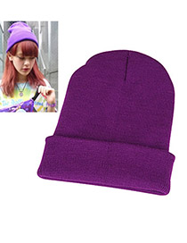 Beauteous Purple Simple Knitting Wool Fashion Hats