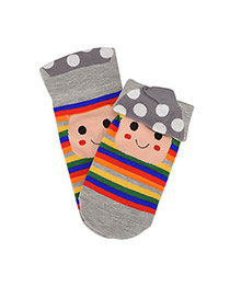 Fitness Gray Mushroom Stripe Pattern Cotton Fashion Socks