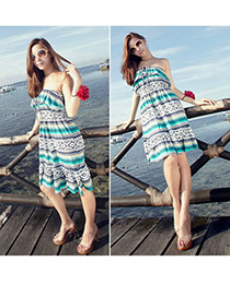 Promotiona Green Bohemian Cotton Beach Dresses