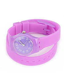 Genuine Purple Candy Color Double Layer Watchband Alloy Ladies Watches