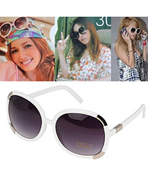 Lilac With White Frame Fashion Metal Lipping Frame Plastic Sunglasses