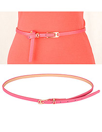 Monarchy Plum Red Thin  Candy Color PU Thin belts