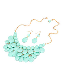 Charm Blue Multilayer Design Acrylic Jewelry Sets