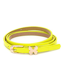 Noble Yellow Butterfly Fluorescence Color Thin PU Thin belts